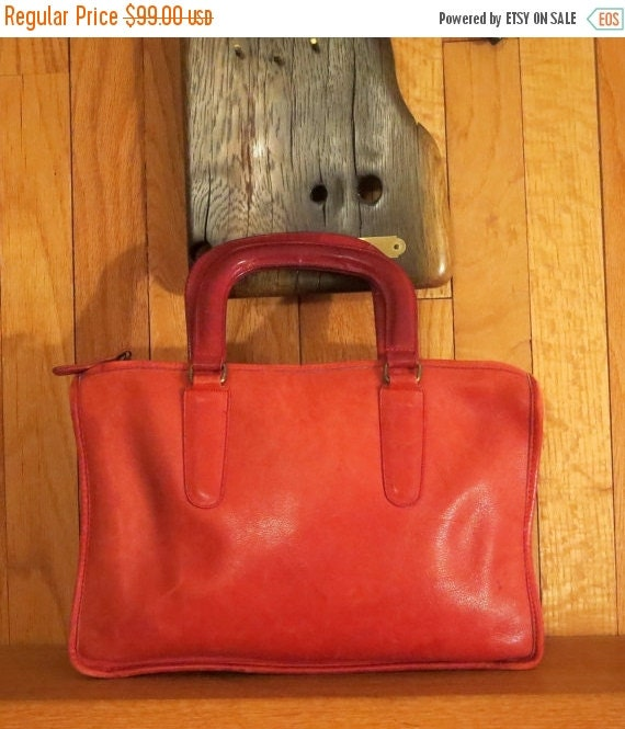 Football Days Sale Coach NYC Red Leather Slim Satchel Large Style No. 9430 - IPad Electronic Notebook Case-VGC- Made in New York City U.S.A.