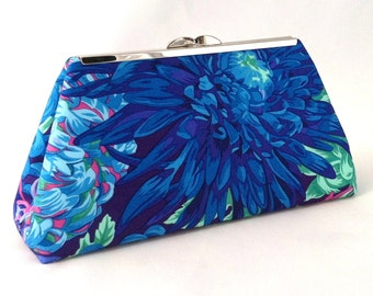 Blue Tropical Clutch ~ Blue Floral Purse ~ Blue Brides Maid Purse