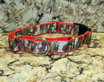 Martingale & Buckle Dog Collar - Green Camouflage Grosgrain Ribbon - 1 inch
