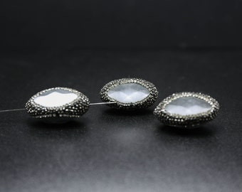 4/8pcs Clear Stone Beads - Faceted Beads Wholesale - With Pave Rhinestone Crystal - Beads Jewelry Supplies White Beads For Bracelet