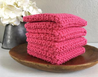 Hot Pink Washcloths . Handmade Washcloths . Cotton Washcloths . Crocheted Washcloths . Cotton Dishcloths  . Bathroom Linens . Spa Gift Set