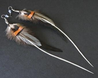 Boucles d'oreilles plumes de coq et de faisan / Rooster and pheasant feathers earrings / Orange and black earrings
