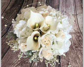 White wedding bouquet, bride bouquet, bridesmaid bouquet.