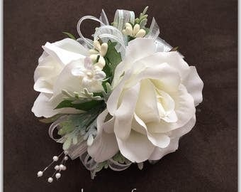 Wrist corsage, white corsage, prom or wedding, silk corsage.