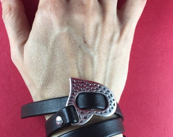 5/7 MADE in GREECE zamak heart buckle clasp, flat zamak buckle clasp, flat cord clasp, heart buckle clasp, 10mm flat cord clasp (93764) Qty1