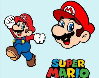 Mario SVG ,Super Mario SVG ,Mario Bros DXF, png, Clipart, svg file ,Mario Printable, Cut File, Cricut , Silhouette Cameo