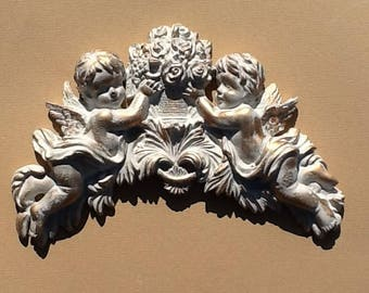 Moulding for furniture embellishment or decoration cherubs with flowers and vase shabby chic projects