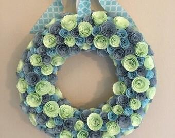Paper flowers/Mint green paper flowers/dusty blue flowers /sky blue flowers/mint green and dusty blue paper flower wreath/paper flowers