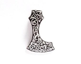 Heavy Silver Axe Urnes Style VIKING KRISTALL Kai Pendant