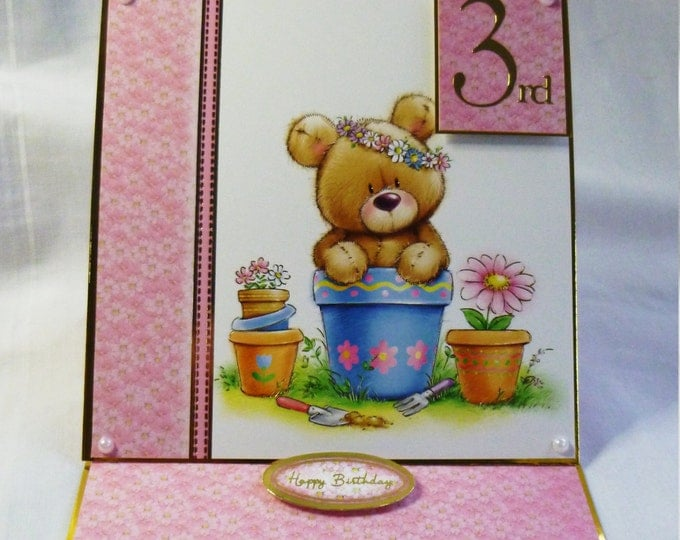 Baby Card, Birthday Card, Greeting Card, 3 year old, for little Girl, Teddy Bear in Flower Pot, Daughter, Sister, Niece, Grandaughter