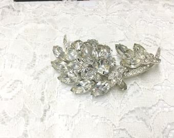 Vintage Eisenberg Ice Clear Rhinestone Flower Brooch