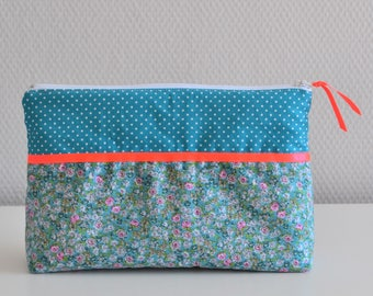 Toiletry in cotton / fluo pink blue green