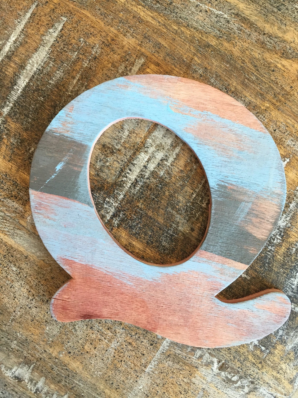 Sale - Rustic Letter 'Q' Monogram, Rustic Home Decor, Painted Monogram