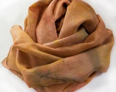 Large Habotai Silk Scarf hand-dyed with Plants, Red Earth and Tumeric, no chemical mordants or dyes used