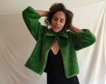 Green Faux Fur jacket xs-medium