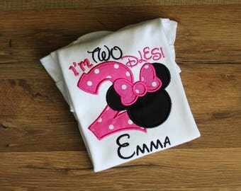 Minnie I'm twodles shirt. Birthday shirt. Minnie birthday shirt.