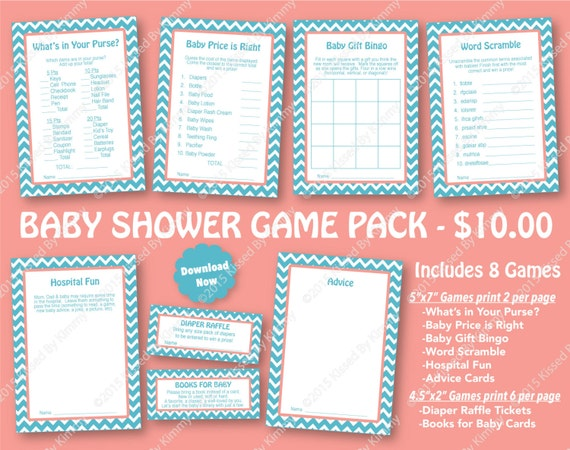 Items similar to teal coral baby shower game pack 70 for Baby shower decoration packs