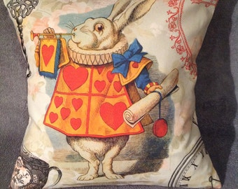 White Rabbit from Alice In Wonderland cushion/pillow size 16'' X 16''