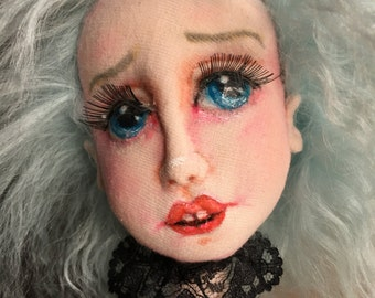 OOAK cloth art doll She Longed For The Sea fabric sculpture