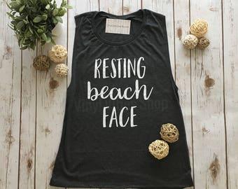 Resting Beach Face tank, resting beach face shirt, beach tank, spring break, summer tank, beach vibes, sleeveless flowy muscle tank