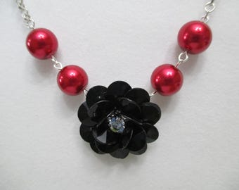FLOWER NECKLACE,  BEADED Necklace,  Pearl Necklace,  Bridesmaid Necklace,  Black Flower Necklace,  Prom Necklace, Gift For Her, Red Weddings