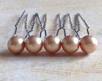 Champagne Hair Pins, Beige Pearl Hair Pins,  Champagne Pearls, Swarovski Pearl Hair Grips, Pearl Bobby Pins, Wedding Hair Jewelry, Set Of 5