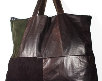 SALE!!! Large Leather bag, Tote Bag / Leather Handbag / Women's Handbag / Eggplant leather bag, Eggplant Bag,