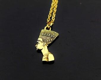 Nefertiti Necklace, Gold Nefertiti Charm Necklace, Nefertiti Pendants, Nefertiti Charms, Egyptian Queen Charms, Personalized Necklace