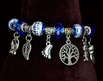 Royal Blue Charm Bracelet Cut Glass Silver Wrapped Metal Charms LOVE Theme with the Tree of Life at Center Hearts, Love Birds 3 inch extend