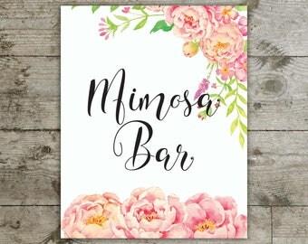 Mimosa bar, Mimosa bar sign, Table sign, Bridal shower sign, Baby shower sign, Mimosa bar floral sign, Mimosa bar pink peony sign
