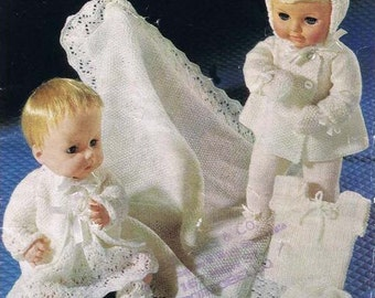 """PDF- Knitting pattern vintage dolls outfit- Layette with shawl- fits 14 and 16"""" dolls"""
