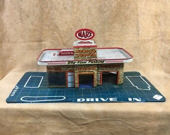Toy Metal Vintage Garage Litho Drive In Vehicle Marx Tin Toy 50s 1950s Car Station