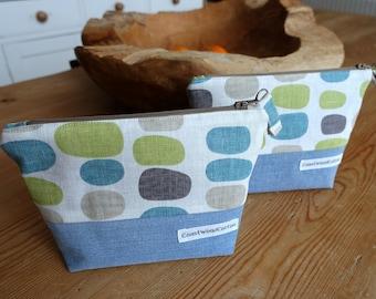 Blue, Green, Taupe Pebbles n' Denim Cosmetic Bag/ Pebbles Coastal Jewelry Pouch / Denim Zipped Make up Bag / Zipped Handbag Organiser