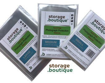 storage.boutique 100 Photograph Protector Sleeves Wallets - Acid Free, Archive Storage Solution, 3 sizes
