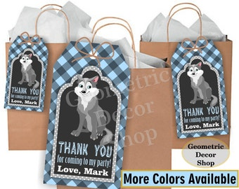 Lumberjack favor tags birthday wolf favor tags Blue Plaid Woodland Great Wolf Lodge favor tags Rustic camping label loot bag candy FTLJ4