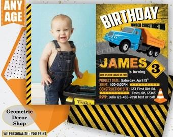 Construction Invite, dump truck invite, construction birthday party, construction, construction invitation, photo photograph boy BDCar5