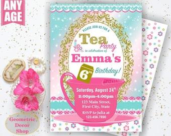 Tea Party / Birthday Invitation / Princess Invite / Pink Teal Shabby Chic Girls Invites Gold Dress Up Girl Glitter Photo Photograph BDTea2