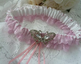 WEDDING GARTER pink and white satin and lace garter butterfly diamante bows antique baby pink vintage Cinderella style