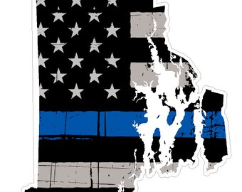 Rhode Island State (V40) Thin Blue Line Vinyl Decal Sticker Car/Truck Laptop/Netbook Window