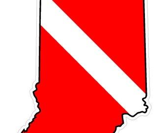 Indiana State (B15) Diver Down Flag Yeti Tumbler Decal Sticker Laptop