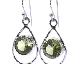 Lemon Quartz Earrings, 925 Sterling Silver, Unique only 1 piece available! color yellow, weight 3.4g, #37254