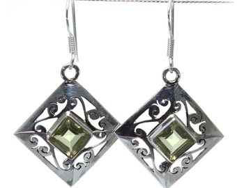 Lemon Quartz Earrings, 925 Sterling Silver, Unique only 1 piece available! color yellow, weight 5g, #24634