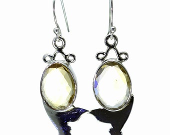 Lemon Quartz Earrings, 925 Sterling Silver, Unique only 1 piece available! color yellow, weight 6.5g, #27892