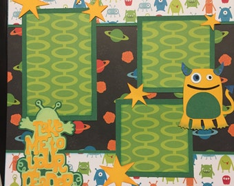 CUTE ALIEN Premade 12x12 scrapbook page