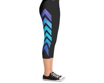 Blue & Purple Ombre Watercolor Arrow Leggings - Women's Full Length or Capri Space Pants - Sky Yoga Pants - Sizes XS to XL - Poly/Spandex