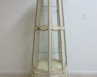 Vintage French Provincial Regency 360 Curio Crystal Display Cabinet Hutch China
