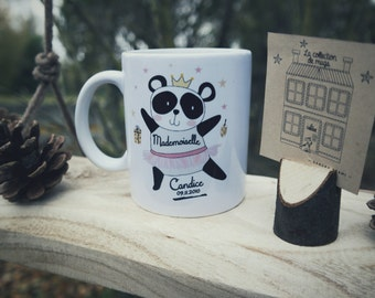Mug blanc - Mademoiselle Panda - personnalisé