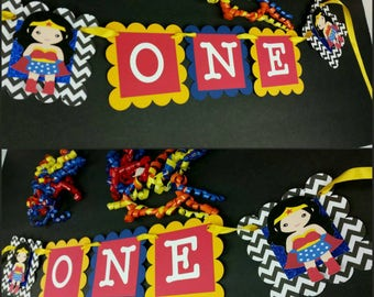 "Glitter Girl Superhero ""ONE"" Highchair Banner, Age High Chair Banner, First Birthday Banner"