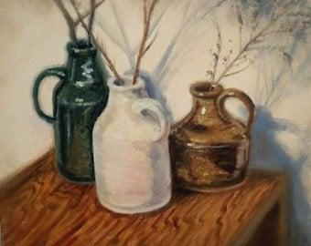 Still Life with Ceramic Bottles