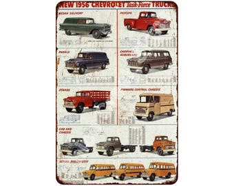 1956 Chevrolet Tast-Force Trucks Vintage Look Reproduction 8x12 Sign 8120957